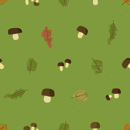 Forest mushrooms and leafs - vector background
