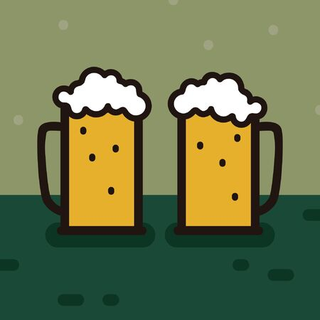Two glasses of beer - vector illustration 일러스트