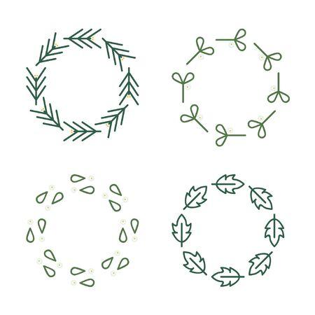 Christmas wreaths set - vector illustration