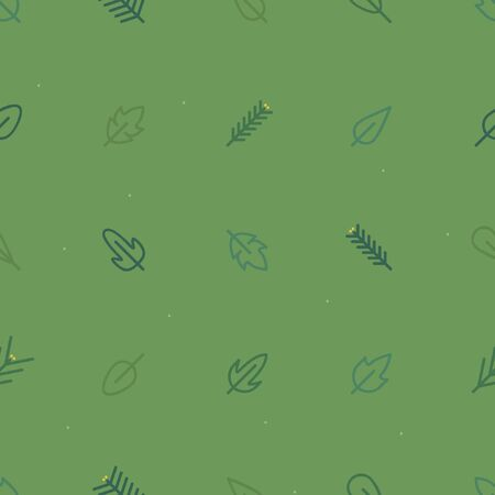 Outline leaves and spruce twigs - vector background