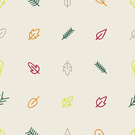 Leafs and conifer twigs - Autumn theme background