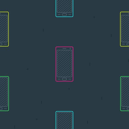 Colorful smartphones on a dark background - vector background