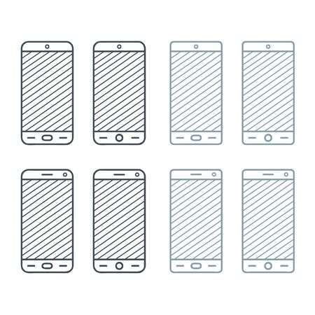 Outline smartphone set - vector illustration