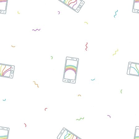 Outline smartphones with a rainbow drawing - vector background Ilustrace