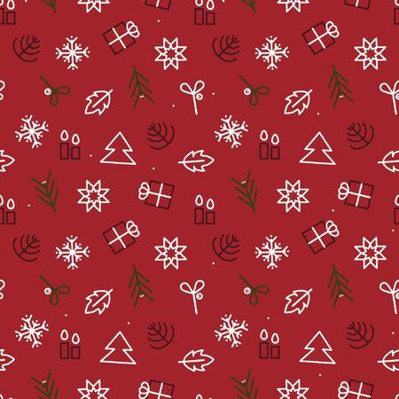Outline Christmas symbols - vector background