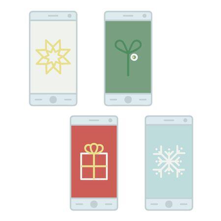 Christmas symbols on a smartphone screen - vector illustration