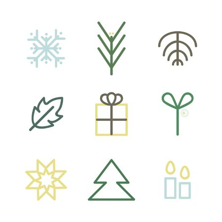 Outline Christmas symbols - vector illustration