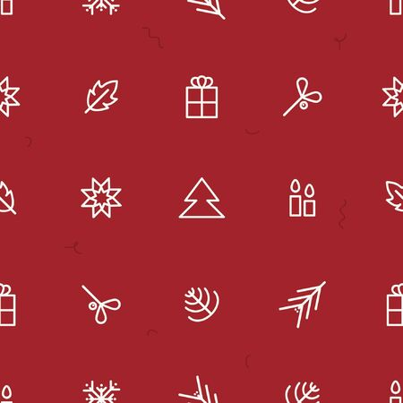 White Christmas symbols on a red background - Christmas theme background 스톡 콘텐츠 - 134172971