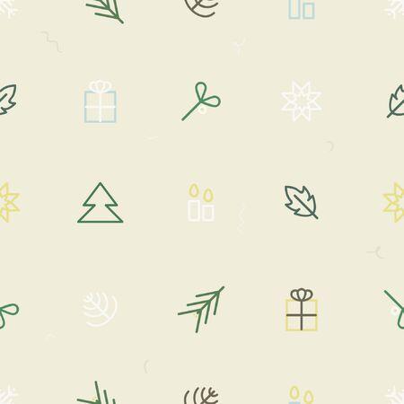Present, mistletoe, snowflake, star and pine - Christmas theme background