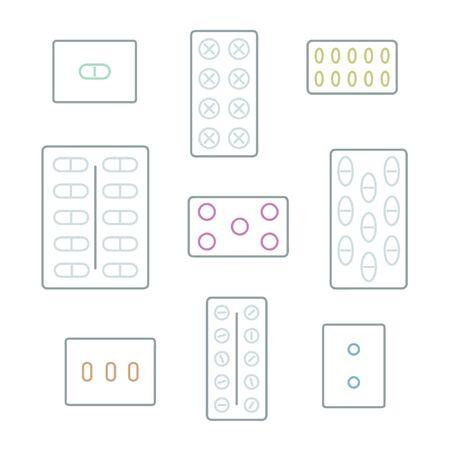 Pills in blister package set - vector illustration