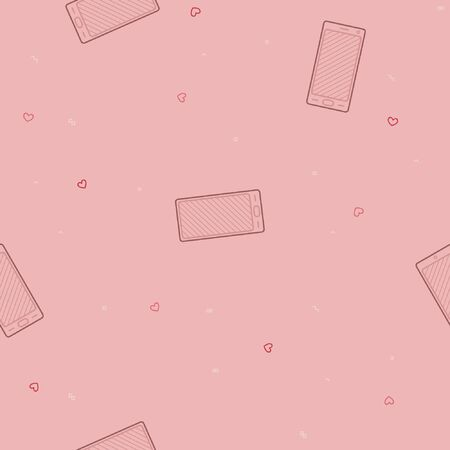 Outline smartphone and a small heart - vector background