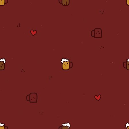 Glass of beer and heart - vector background