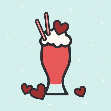Valentine milkshake illustration - vector illustration Ilustrace