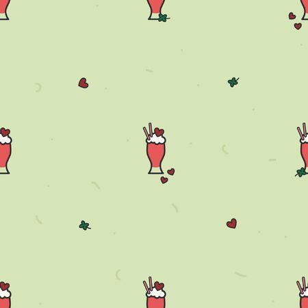 Valentine milkshake on a light green background - vector background