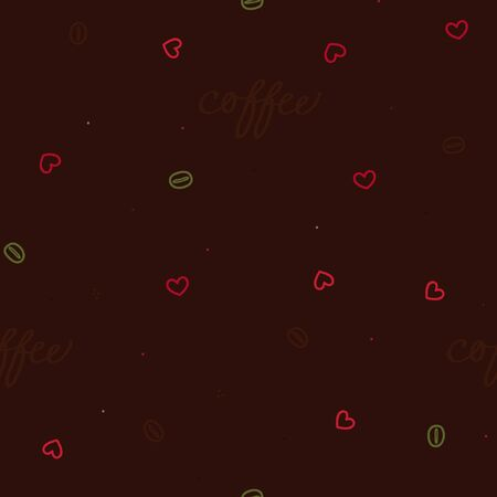 Coffee bean and a heart on a dark background - vector background