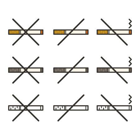 No smoking sign set - vector illustration