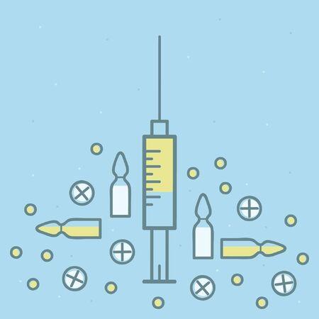 Syringe and pills - vector illustration Ilustrace