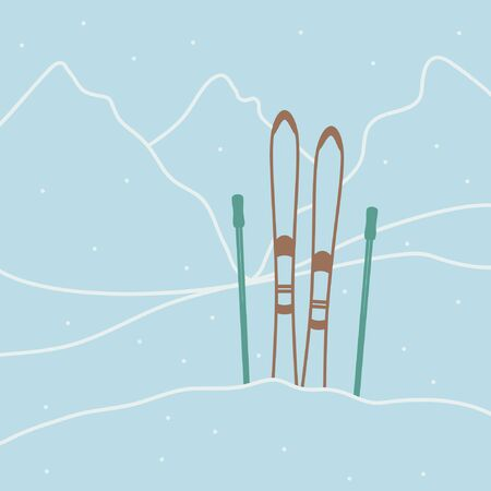 Red ski with ski poles - vector illustration 일러스트