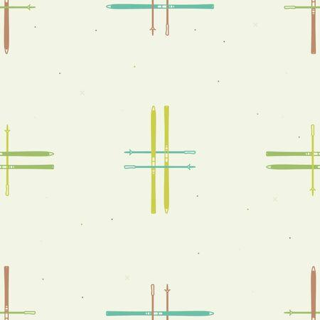 Ski with ski poles - vector background