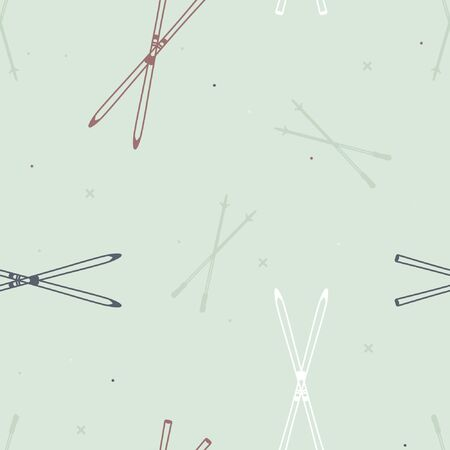 Cross-country skis and ski poles - vector background