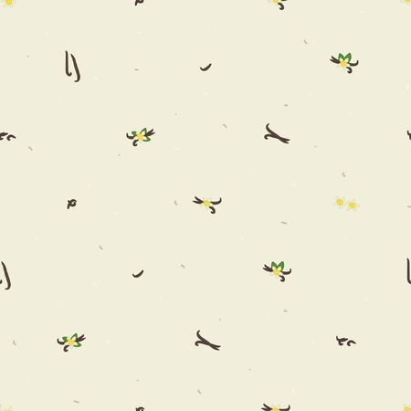 Vanilla bean and blossom background - vector background