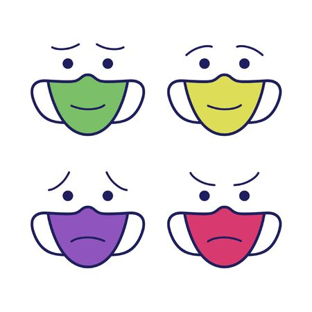 Outline facemask with face expressions - vector illustration 일러스트