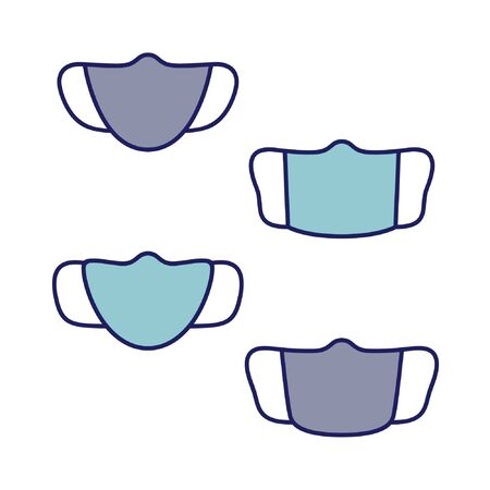 Set of outline facemasks - vector illustration