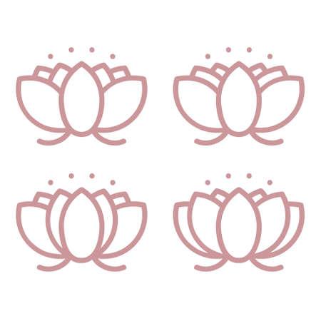 Outline lotus blossom set - vector illustration