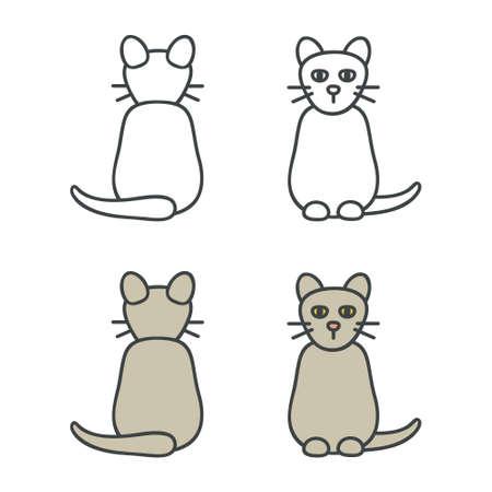Outline cat set - vector illustration