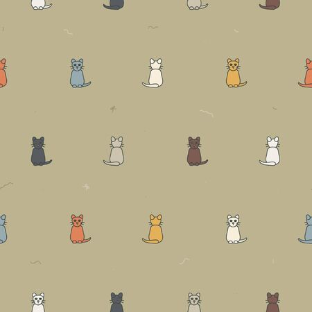 Outline cats background - vector background Ilustrace