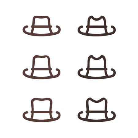 Set of outline hats - vector illustration