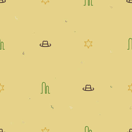 Cowboy hat, star and cactus - vector background 일러스트