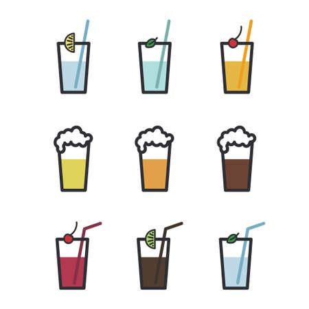 Set of beer and soft drinks - vector illustration 일러스트