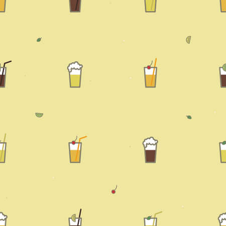 Beer and soft drinks background - vector background Ilustrace