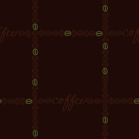 Coffee lettering and coffee beans - vector background Ilustrace