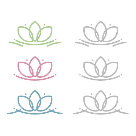 Lotus flower set - vector illustration 일러스트
