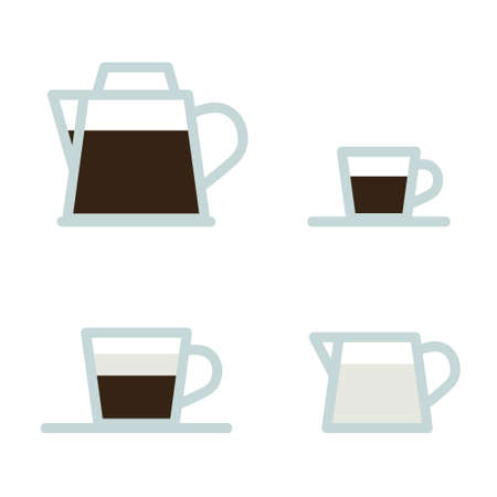 Coffeepot, cups and pot with milk - vector illustration 일러스트