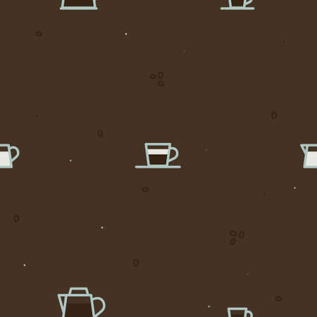 Coffeepot, cups and pot with milk - vector background 일러스트