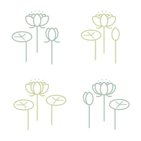Water lily flower set - vector illustration