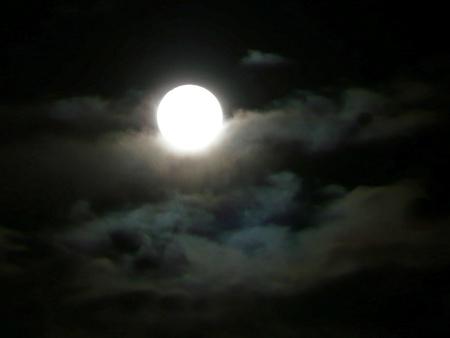 冬の夜の月の出 写真素材