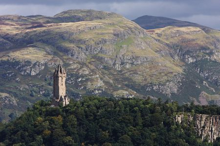 wallace: View of the Wallace monument from the castle of Stirling in Scotland.