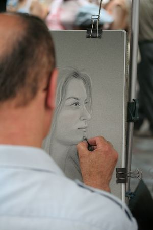 artist from montmartre at work photo