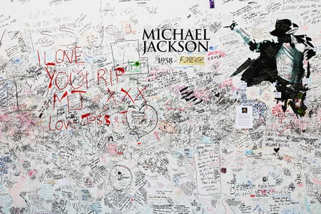 michael jackson: London, United Kingdom - July 24, 2009: Memorial for Michael Jackson at the O2 arena in London.