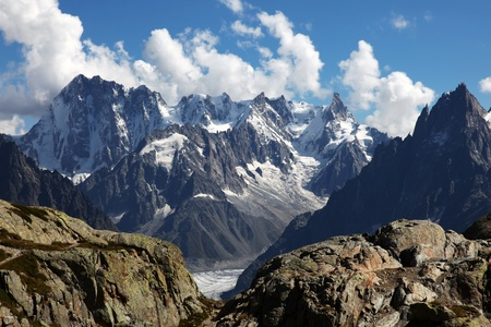 blanc: View on the Alps from the White Lake, Chamonix. Stock Photo