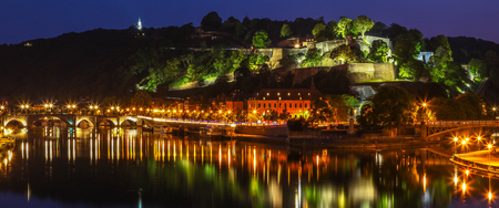Namur, Belgium, by night with view on the citadel and bridges Editorial