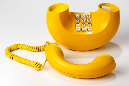 Old Retro Telephone, Yellow, push button dialer
