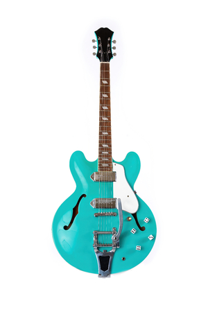 Electric Guitar, turquoise, 6 String isolated on white
