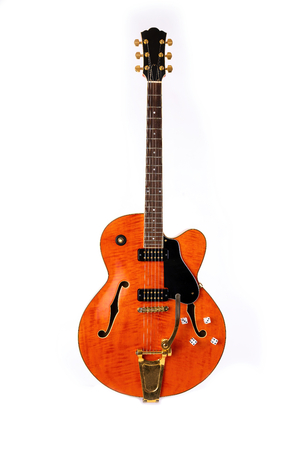 Electric Guitar, red and orange, 12 String isolated on white