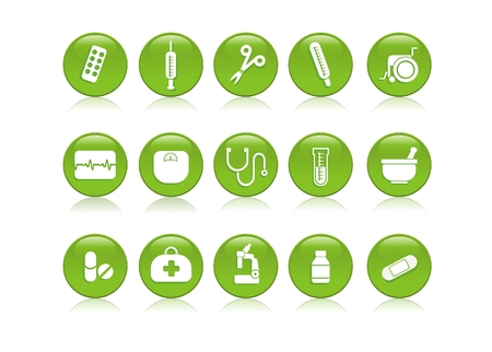 cardiograph: icons of various medical & healthcare equipment