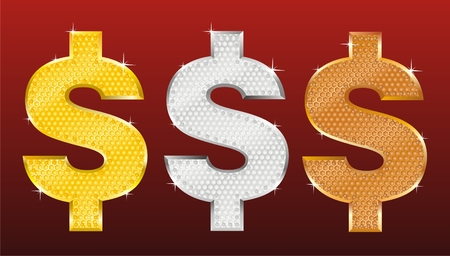 currency glitter: three symbols of dollar covered in gold, silver and bronze Illustration
